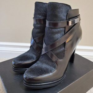 French Connection-Serena Leather Boots Calf Hair